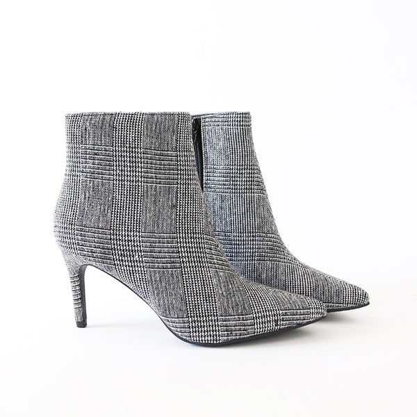 success plaid ankle boots heel booties
