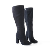 suga black vegan suede knee high boots