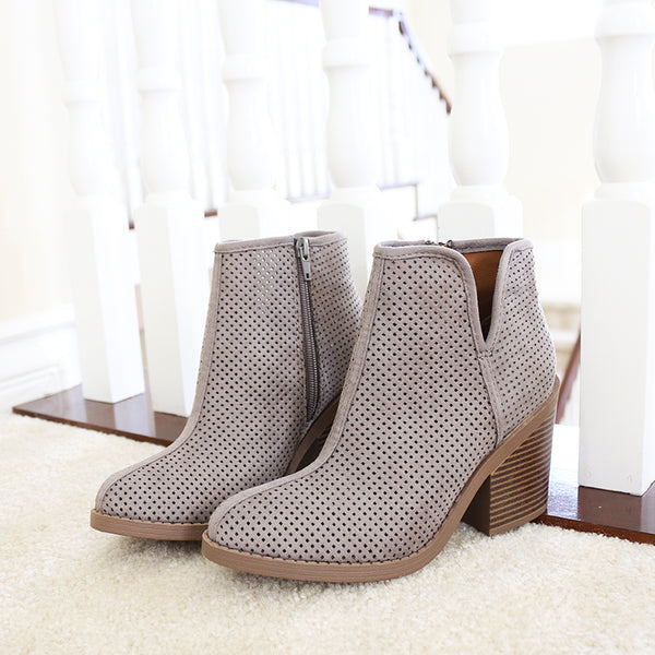 tarpon gray western perforated-booties