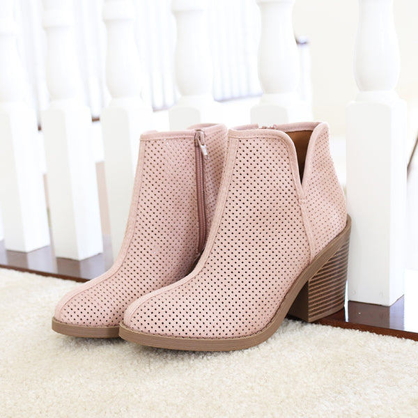 tarpon mauve western perforated booties