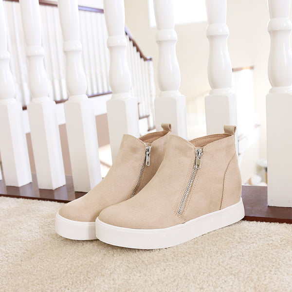 taylor oat vegan suede wedge sneakers booties