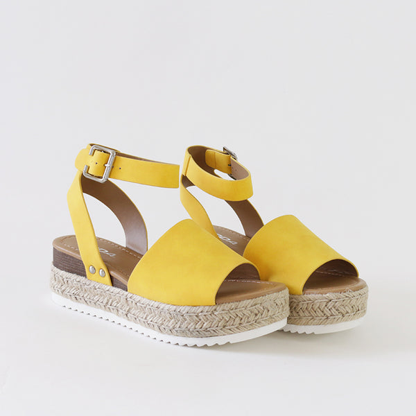 topic yellow ankle strap flatform sandal espadrilles