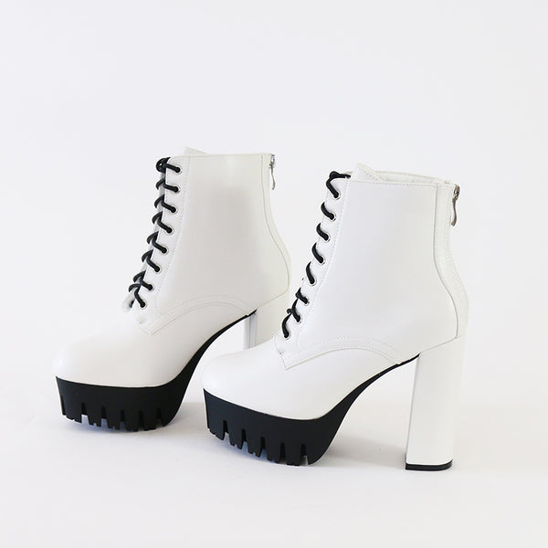 vacay-01 white lace up lug sole ankle boots booties