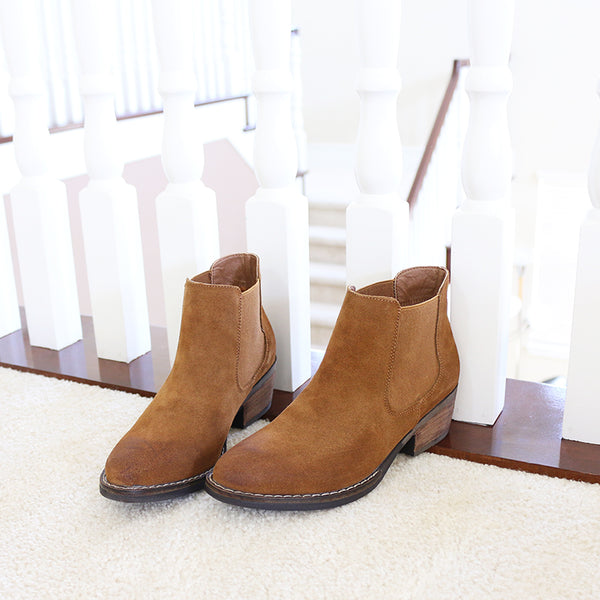 victor-01 camel genuine cow suede chelsea boots booties