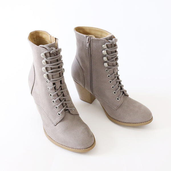 wanda grey faux suede lace up ankle boots