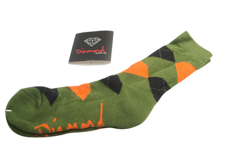 Diamond Supply Co Argyle Socks Green/ Orange , Socks - Diamond Supply Co, Concrete Wave