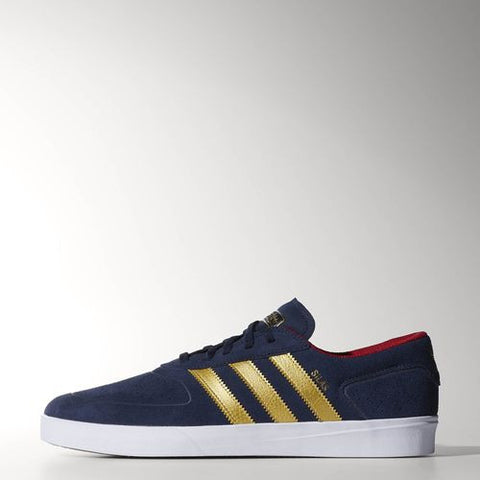 Adidas Silas Vulc Collegiate Navy/ Metallic Gold/ Light Scarlet Skate Shoes 9 / Blue, Sneakers - Adidas Skateboarding, Concrete Wave