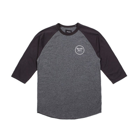 Brixton Wheeler 3/4 Sleeve T Shirt- Charcoal Heather/ Black , T Shirt - Brixton, Concrete Wave - 1