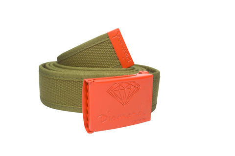 Diamond Supply Co OG Logo Clamp Belt Green/ Orange , Belts - Diamond Supply Co, Concrete Wave