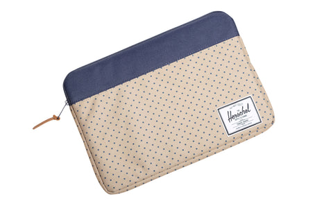 Herschel Supply Co Anchor Sleeve for 13 inch Macbook Khaki Polka Dot/ Navy , Bags - Herschell Supply Co, Concrete Wave