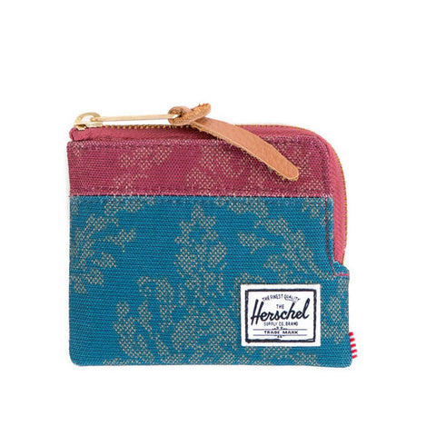 Herschell Supply Co Johnny Wallet Blue Damask/ Burgundy Damask Default Title / Damask/ Burgundy Damask, Bags - Herschell Supply Co, Concrete Wave - 1