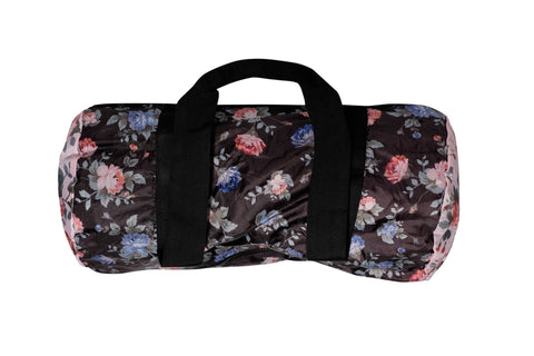 Herschell Supply Co Packable Duffle Black Floral/ Pink Floral Default Title / Black Floral/ Pink Floral, Bags - Herschell Supply Co, Concrete Wave - 1