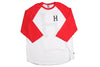 Huf Classic Big H Logo Red/ White Raglan , T Shirt - Huf, Concrete Wave - 1