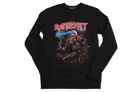 Huf Ratchet Black Crewneck Sweatshirt , Sweatshirts - Huf, Concrete Wave - 1