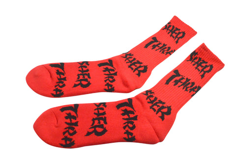 Huf x Thrasher Logo Socks Red , Socks - Huf, Concrete Wave - 1