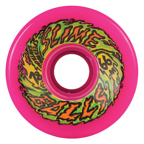 Santa Cruz 66mm Slime Balls 66s 78a Neon Pink Skateboard Wheels , Wheels - Santa Cruz, Concrete Wave