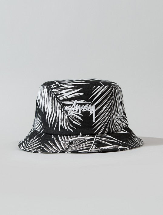 c66c0e433ba10 Stussy Reversible Palm Bucket Hat in Black and White