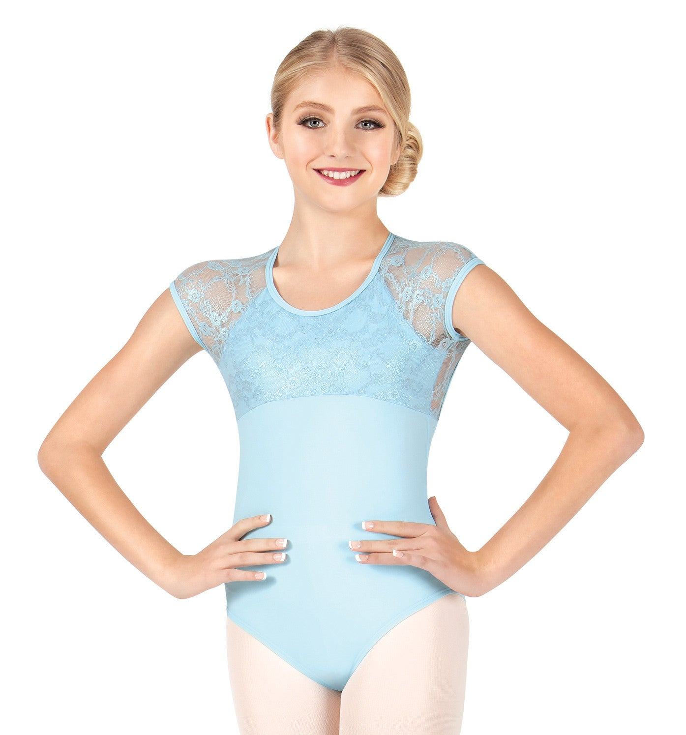 "Audition Dancewear ""Maria"" Metallic Lace Short Sleeve Leotard for Girls"