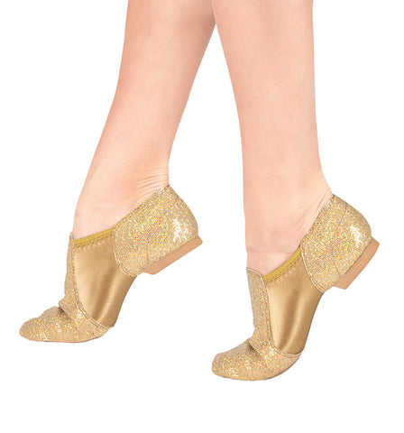 Double Platinum Glitter Jazz Shoes for Girls