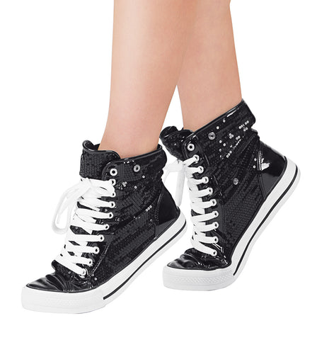 Double Platinum Adult Hi-Top Sequin Fur Sneaker for Women