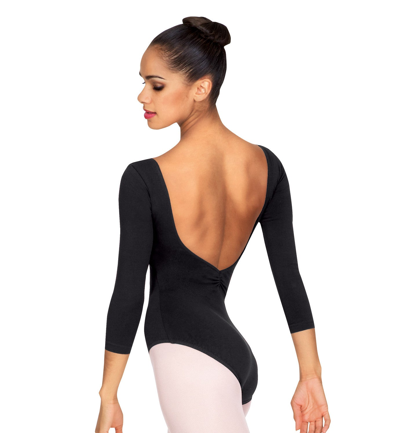 Adult 3/4 Sleeve V-Front Leotard for Women