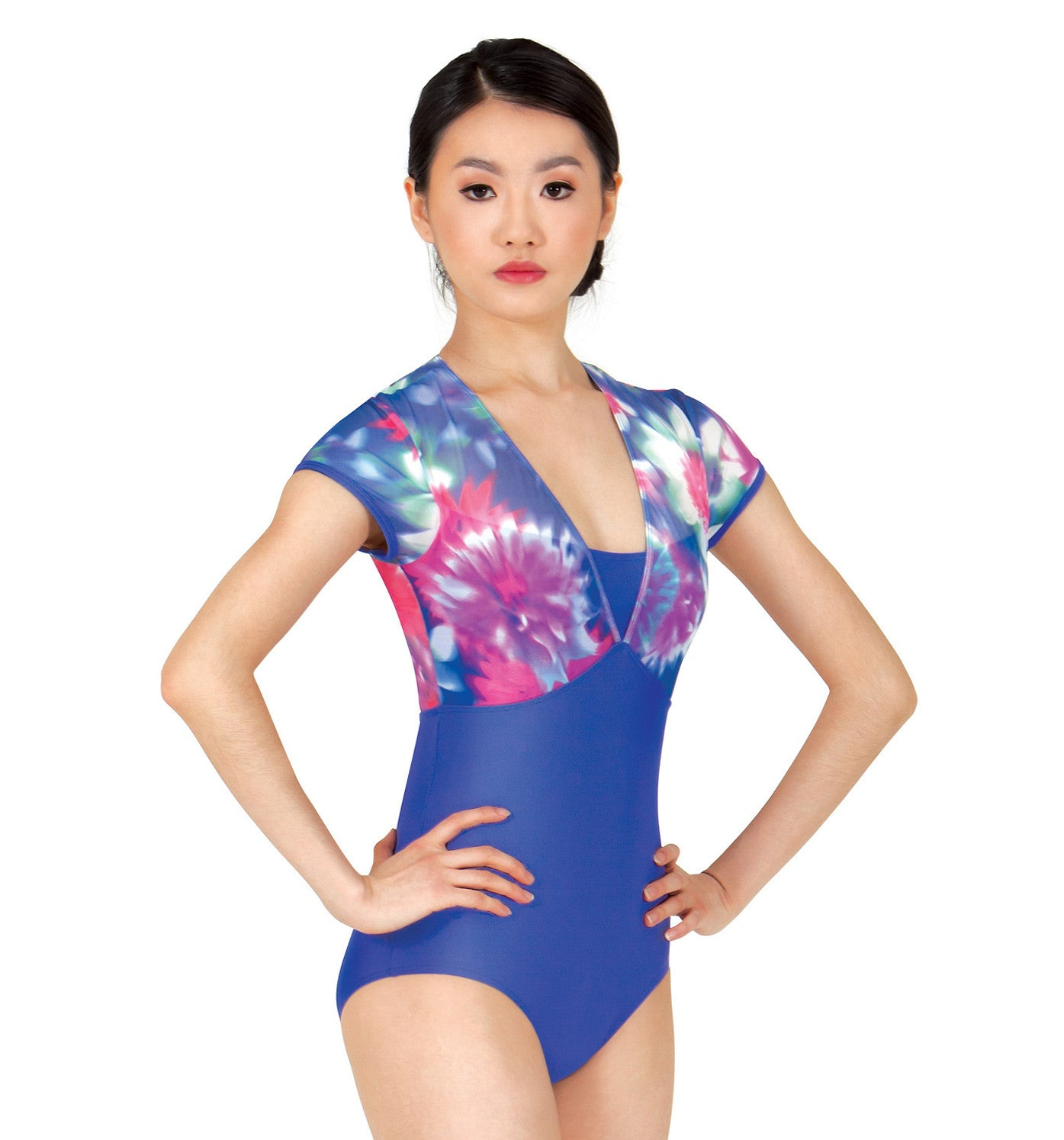 Lulli Adult Floral Print Mesh Short Sleeve Leotard for Women