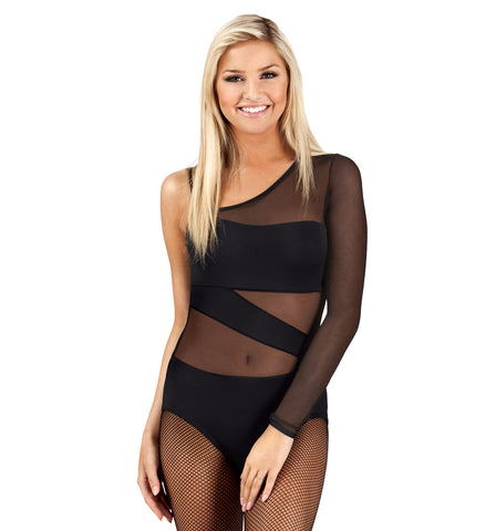 Double Platinum Adult Asymmetrical One Sleeve Spliced Leotard for Women