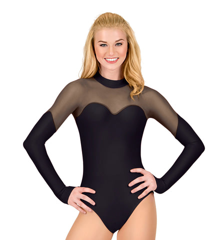Double Platinum Adult Long Sleeve Mesh Cosplay Leotard in Black for Women