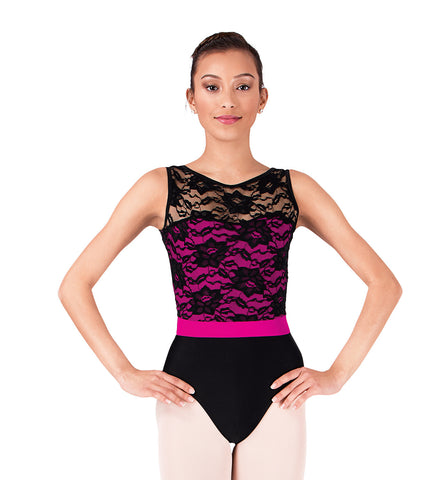 Natalie Adult Two-Tone Tank Leotard with Lace Bodice for Women