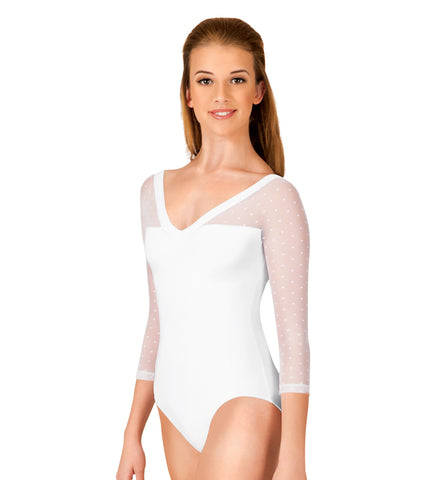 Natalie Couture Adult Dot Mesh 3/4 Sleeve Leotard for Women