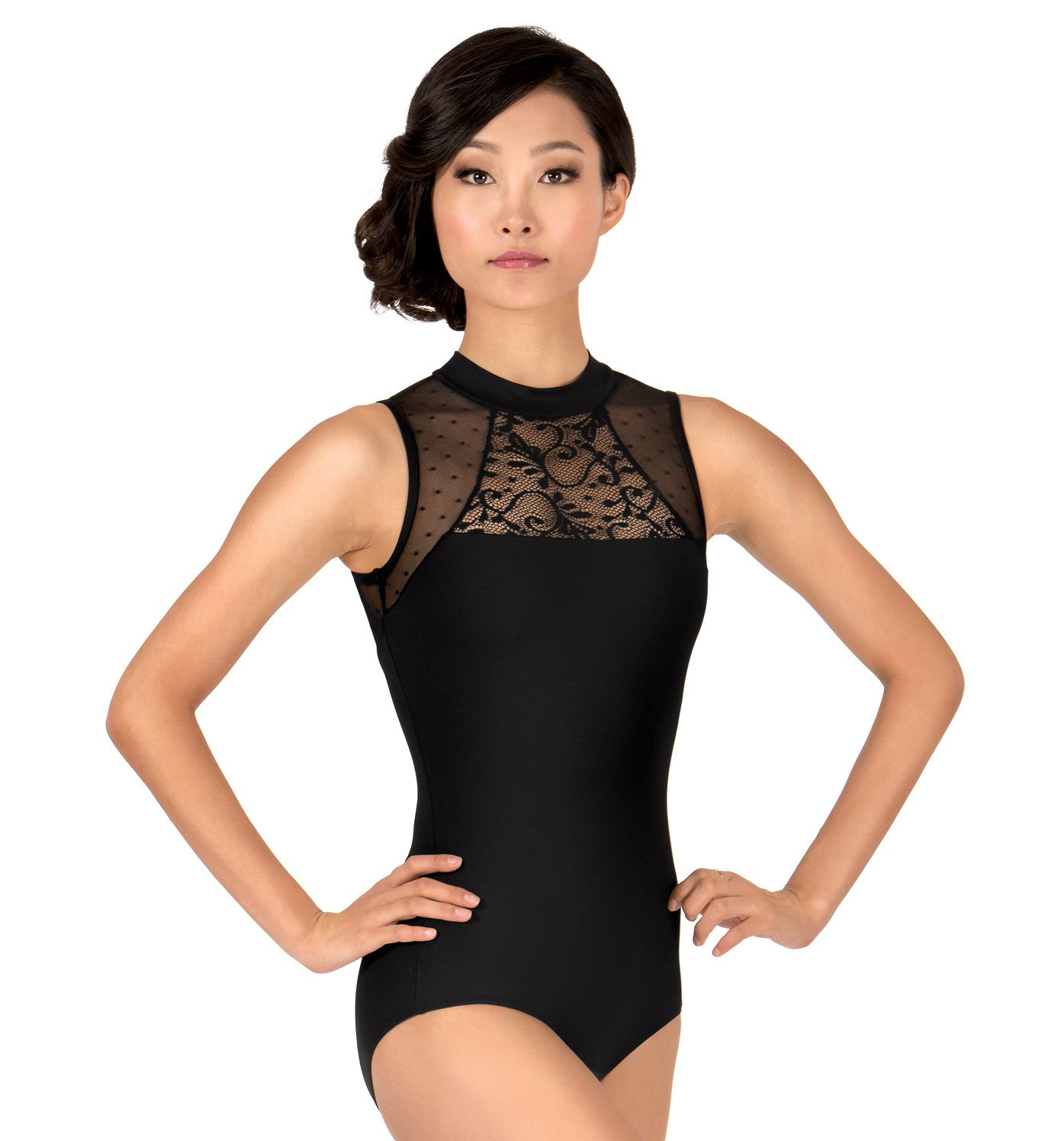 "Natalie Couture Adult ""Pointe D'Esprit"" High Neck Tank Leotard for Women"