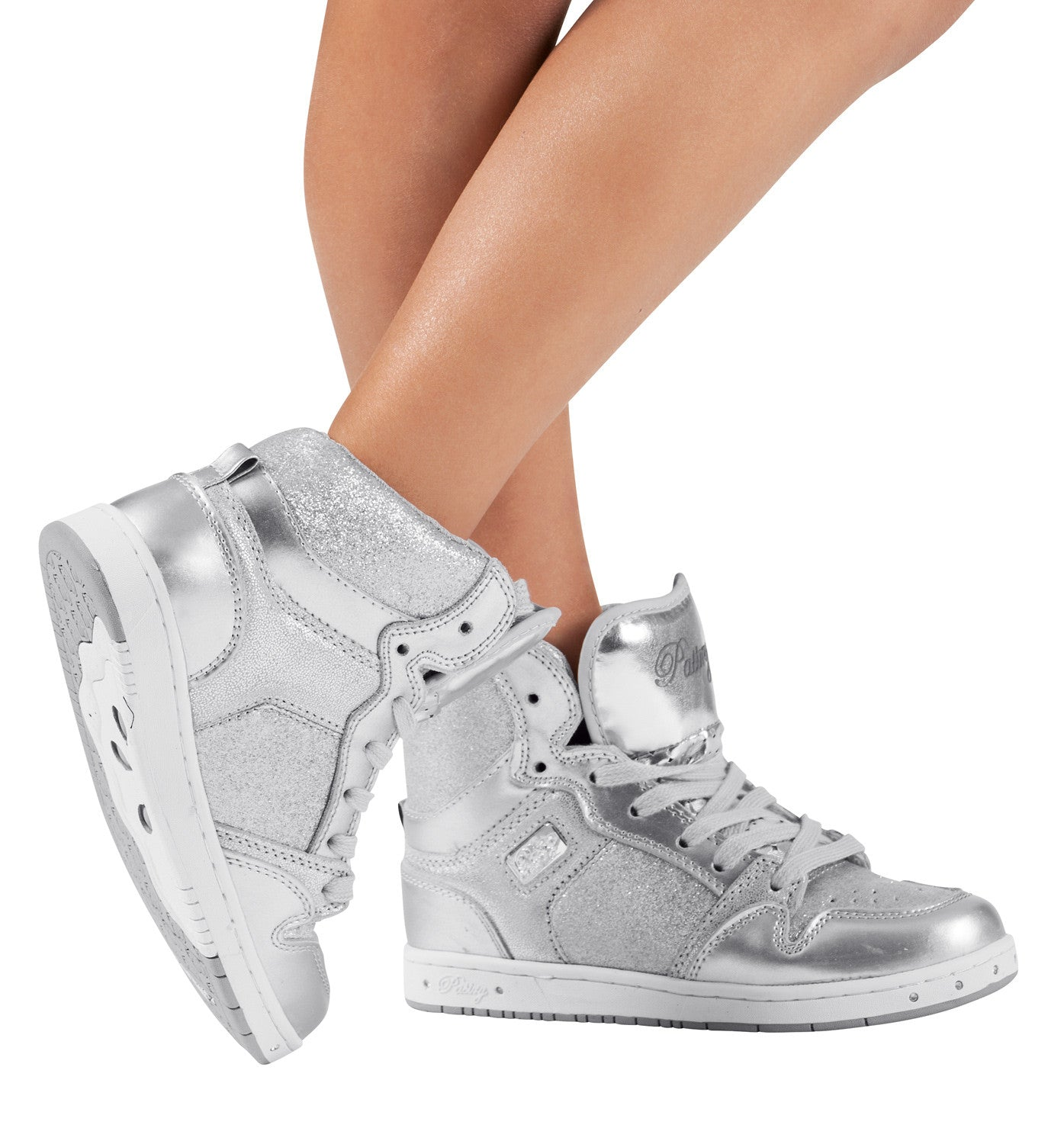 "Pastry ""Glam Pie"" Glitter Silver Sneakers for Kids"