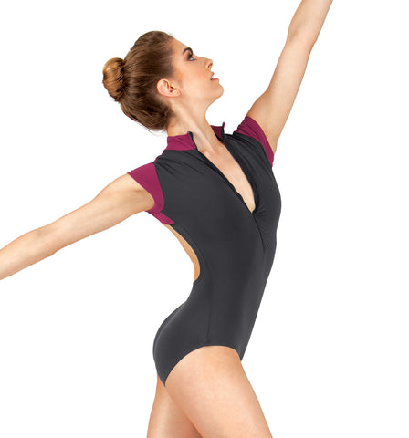 BalTogs Adult Zip Front Short Sleeve Leotard for Women