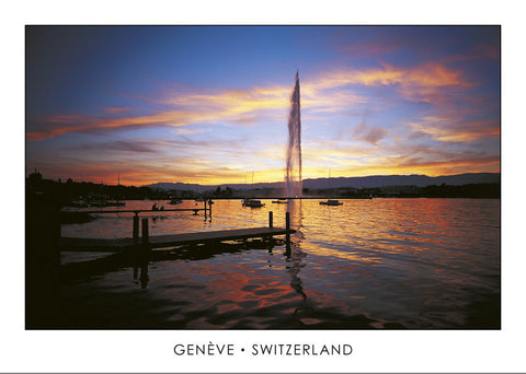 10223 - Geneva - The harbour and the Jet-d'eau, Switzerland