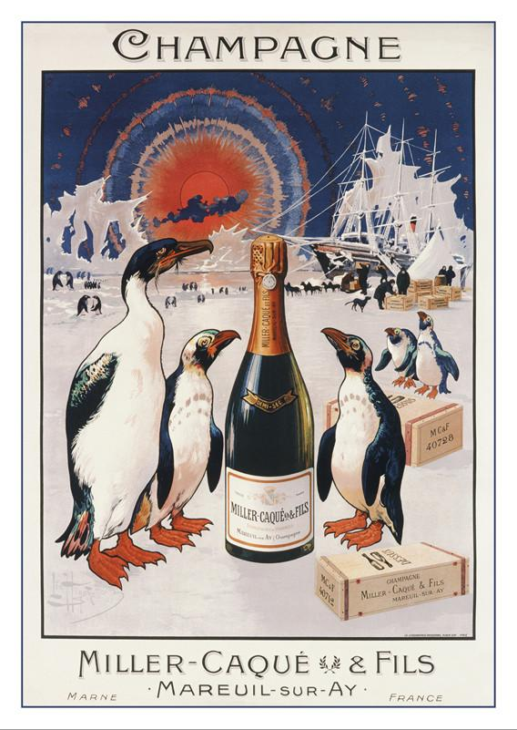 CHAMPAGNE MILLER-CAQUÉ - Poster by Léo Hingre - About 1905