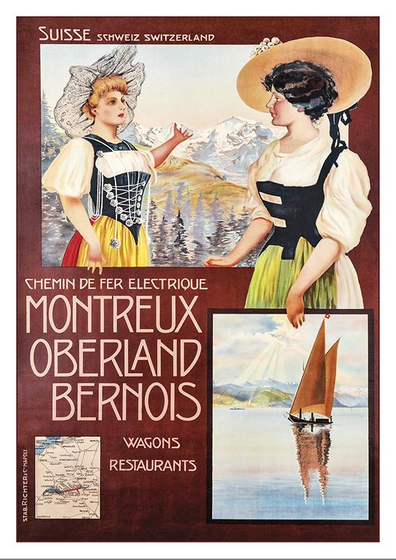 Postcard - MONTREUX OBERLAND BERNOIS - Poster by Mario Borgoni about 1912