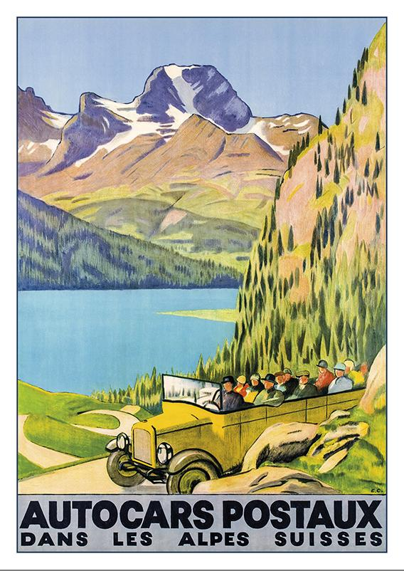 A-10584 - AUTOCARS POSTAUX - Poster by Emil Cardinaux - 1928