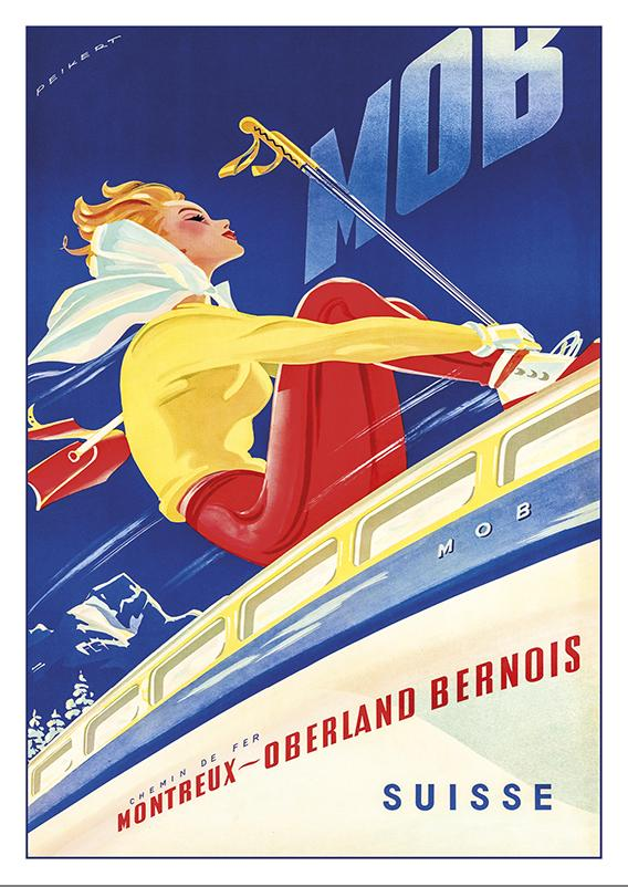 Postcard - MOB - Montreux Oberland Bernois - Poster by Martin Peikert - 1957