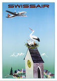 Postcard - SWISSAIR - Poster by Donald Brun - 1951