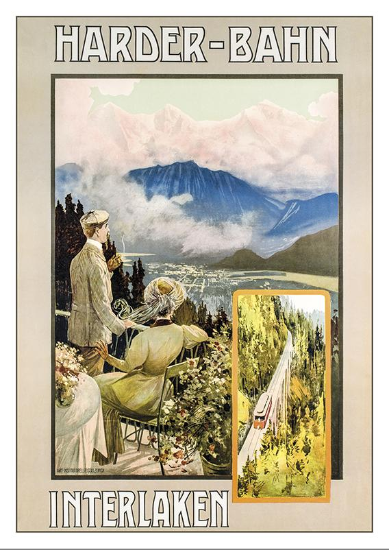 A-10608 - INTERLAKEN HARDER-BAHN - Poster from 1892