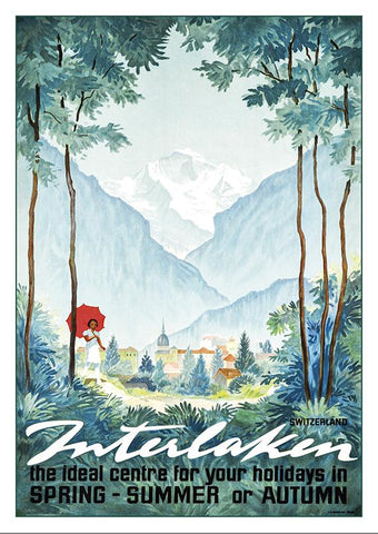 Postcard - INTERLAKEN - Poster by Alex Diggelmann - 1946