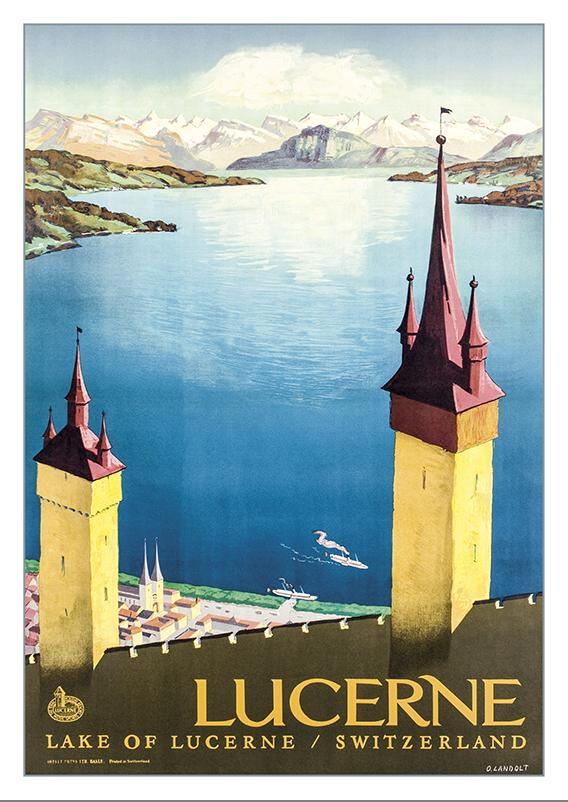 Postcard - LAKE OF LUCERNE - Poster by Otto Landolt - 1936