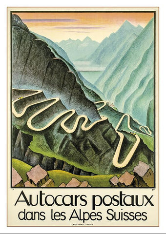 AUTOCARS POSTAUX - Poster by  Niklaus Stoecklin - 1925