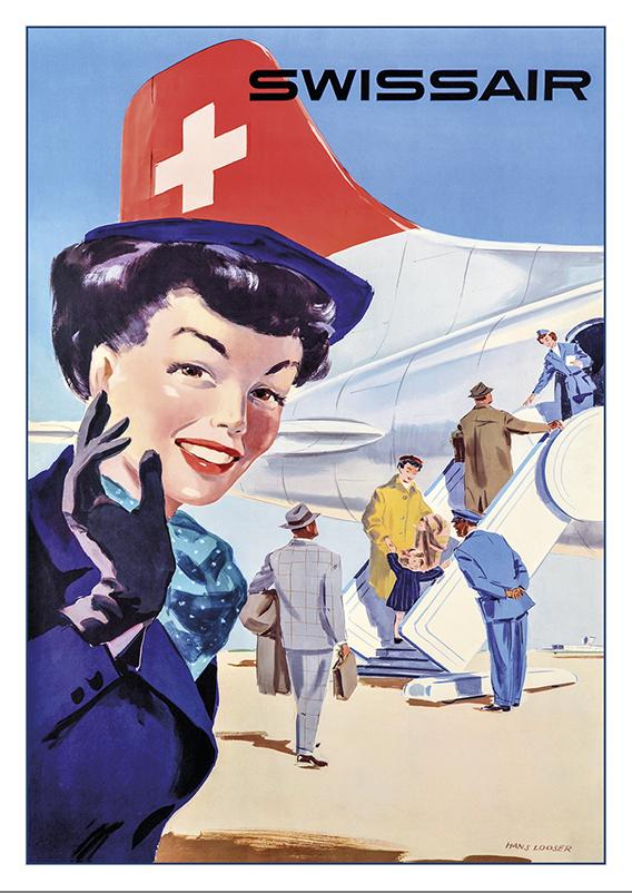 A-10659 - SWISSAIR - Poster by Hans Looser - 1953