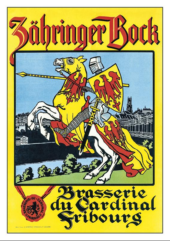 FRIBOURG - BRASSERIE DU CARDINAL - Poster about 1910