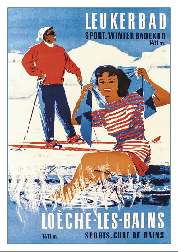 LOÈCHE-LES-BAINS - LEUKERBAD - Poster by Pierre Alexandre Junod - 1958