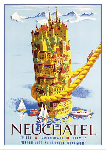NEUCHÂTEL - Poster by Pierre Alexandre Junod - 1953