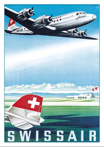 SWISSAIR - Poster by Bernhard Reber - 1952