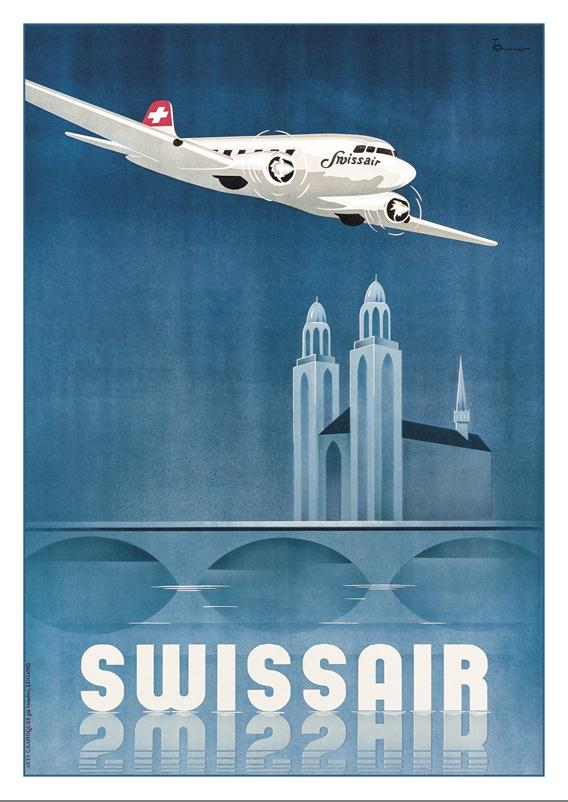 A-10705 - SWISSAIR - Poster by Teddy Brunner - 1938