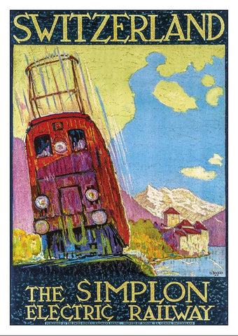 THE SIMPLON ELECTRIC RAILWAY - Poster by Daniele Buzzi - 1925